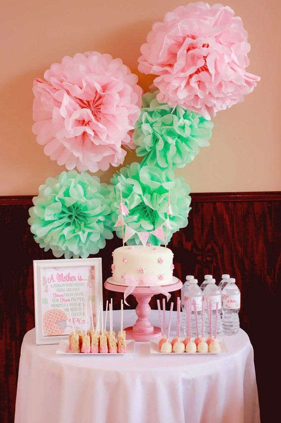 5 Paper Pom Poms, Cool Mint, Light Pink Pom Poms, Shabby Chic Party, 1st birthday Party, Baby Shower on Etsy, $15.00