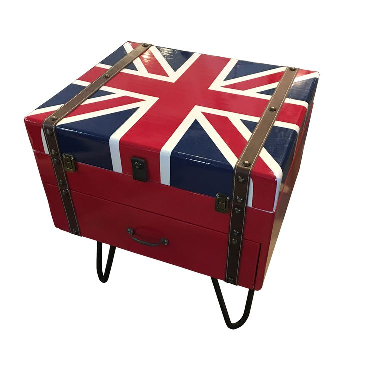 Union Jack Suitcase Side Table. A classic Union Jack suitcase design of side table. Be it a side table and a perfect storage spot to save some room space.