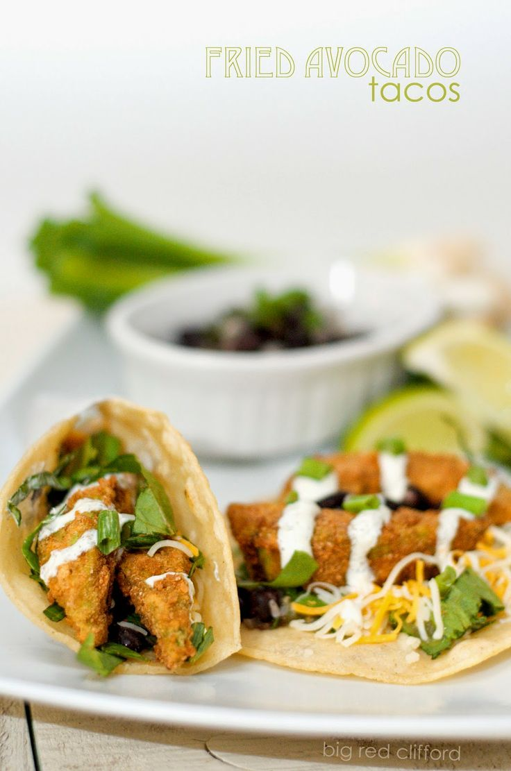 Fried Avocado Tacos. All of the perfection of a fish taco, minus the fish | bigredclifford.com