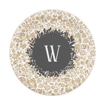 Gold Floral Pattern with Dark Gray Circle Monogram Paper Plate - floral gifts flower flowers gift ideas  sc 1 st  Pinterest & 1 PAPER PLATE - kitchen gifts diy ideas decor special unique ...