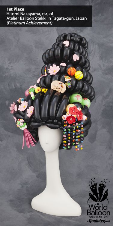 Twisted Balloon Sculpture Geisha Hair with Adornments #balloontwisting