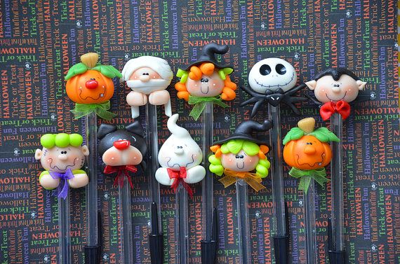 Pack of 10 Halloween Black Pens Cute Polymer by MonPetitPapier, $45.00