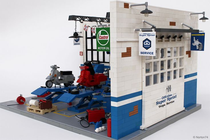 "https://flic.kr/p/sH4d5T | Dream Garage | Officina Super Sprint | Classic Vespa Workshop | This year <b>Officina Super Sprint</b> turns twenty and to pay tribute for this important anniversary I built the LEGO model of the ""Officina"". <b><a href=""http://www.officinasupersprint.it/supersprint/rm/chi_siamo/"" rel=""nofollow"">Officina Super Sprint</a></b> is a Vespa specialized workshop. It was founded in 1995 by two friends, one of them is also an AFOL (Adult Fan Of LEGO) known as Norton74…yes…"