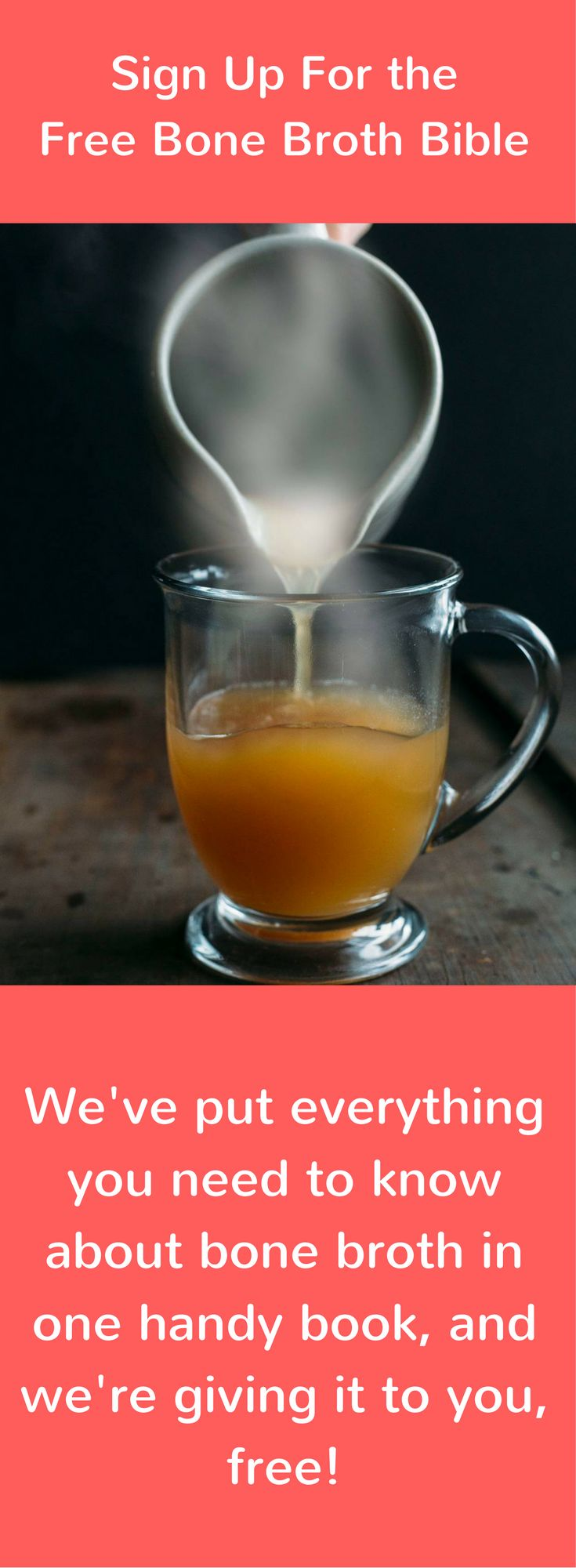 Grab this free 57 page ebook on everything there is to know about bone broth. Recipes, how to drink, benefit overview, and expert tips!