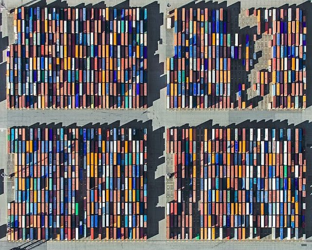 Beautiful Aerial Photographs of Shipping Container Terminals by Bernhard Lang