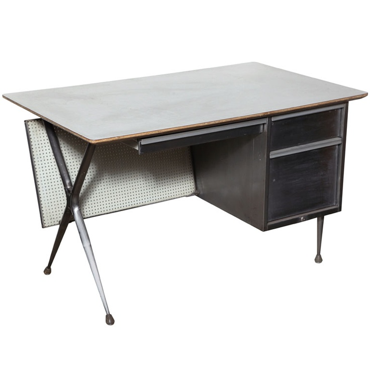 Raymond Lowey Steel and Pegboard Teacher s Desk