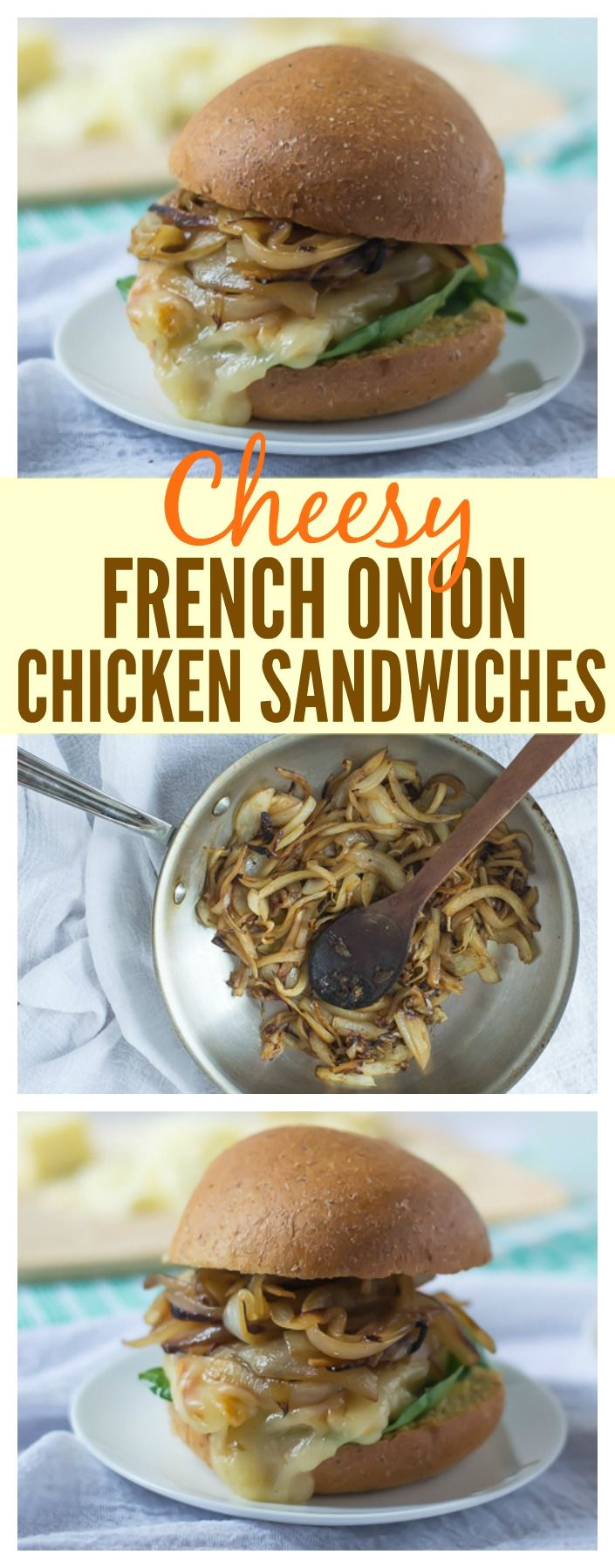 Cheesy French Onion Chicken Sandwiches. The savory caramelized onion flavor of French Onions Soup in a grilled chicken sandwich! Perfect for picnics, camping, and weeknight dinner too!