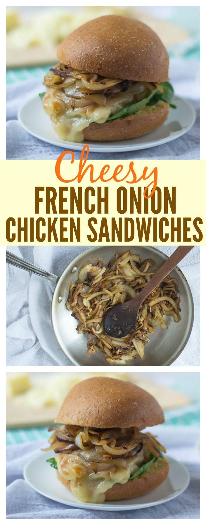 Cheesy Französisch Zwiebel Huhn Sandwiches.  Die herzhaften karamellisierte Zwiebel Geschmack von Französisch-Onions Suppe in einer Sandwich mit gegrilltem Huhn!  Perfekt für Picknicks, Camping, und unter der Woche Abendessen auch!