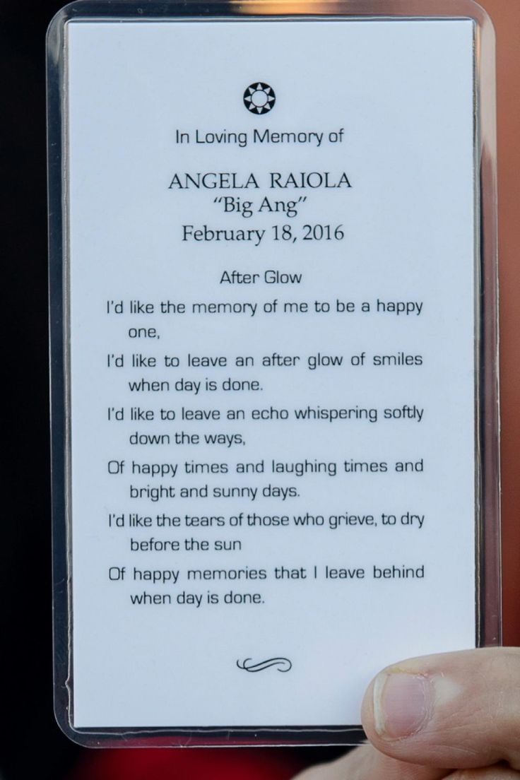 Mass card from the wake and viewing for Angela Raiola aka Big Ang at Scarpaci Funeral Home in Dyker Heights on Feb. 20, 2016.