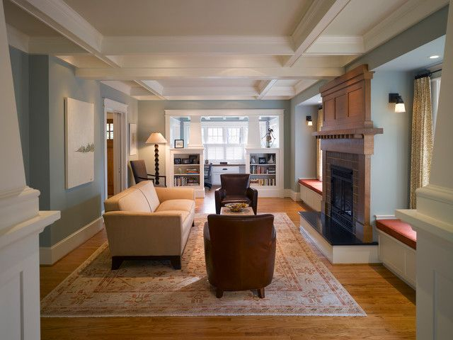 Craftsman living room in blues and neutrals