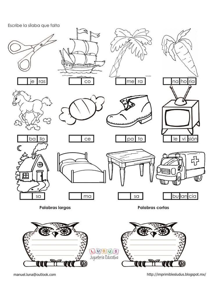 Ejercicios silabas  Tres ejercicios muy útiles para trabajar con niñ@s para introducirlos en el mundo de las sílabas