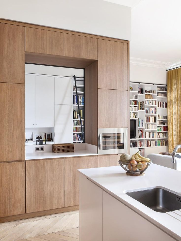 Paris kitchen with laminated wood cabinets.