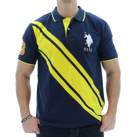 Mens Polo Shirts - U.S. Polo Assn. Color Block Solid Polo Men's Polo Shirt
