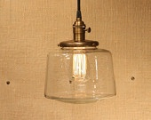 Lighting with Simple Clear Glass Shade and Reproduction Cotton Twist Wire. $118.00, via Etsy.