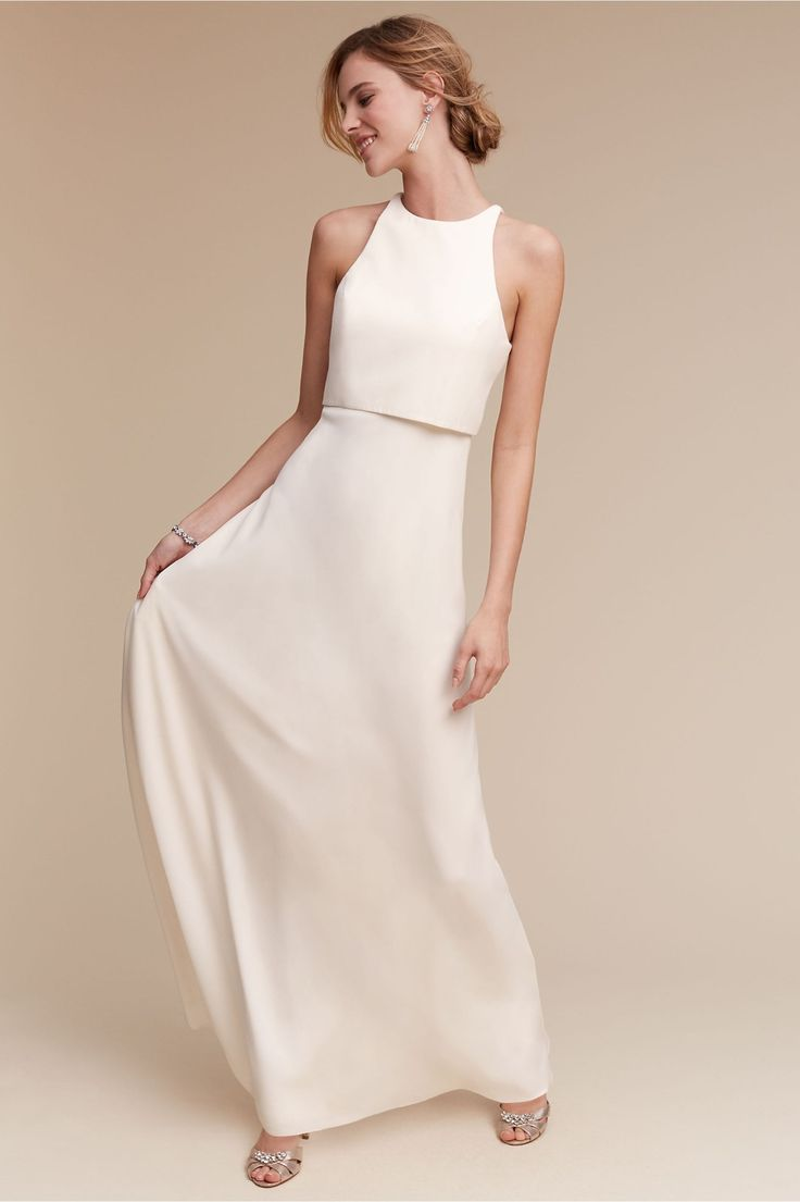 minimal wedding dress wedding reception dresses for the minimalists Iva Crepe Maxi in Ivory from BHLDN Dress PartyParty