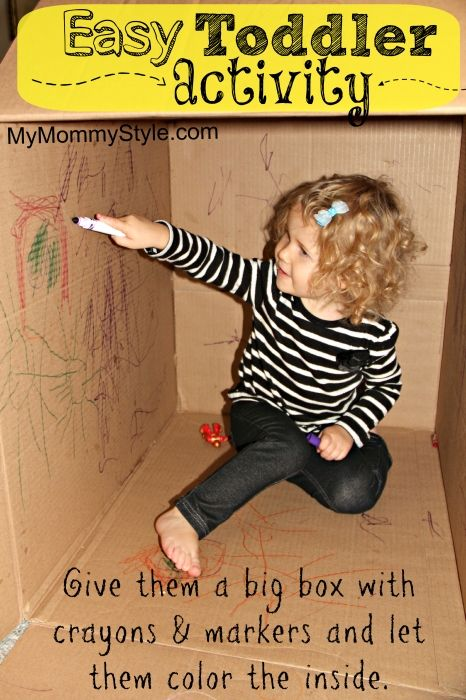 Never throw a box away. If you don't have time or energy to help your child make it into a castle or space ship, just give your child markers and put her in the box for an hour! Thanks to Alana Carris Warfel!