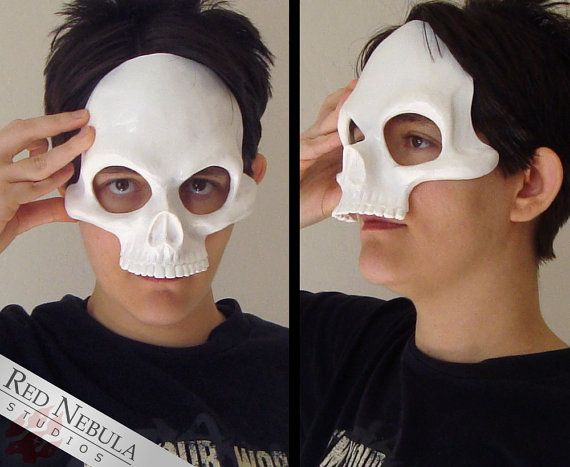 Human Skull Half Mask Blank Resin Skeleton by RedNebulaCosplay