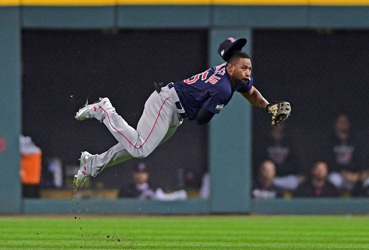 Big throw to the plate:    Boston Red Sox center fielder Jackie Bradley Jr. throws to home plate on a Cleveland Indians' Jason Kipnis single that scored Roberto Perez in the fifth inning during Game 1 of baseball's American League Division Series, Oct. 6 in Cleveland.