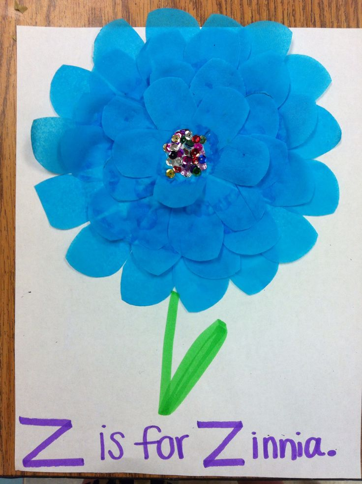 """""""Z is for Zinnia"""". Tissue paper layers form a zinnia flower! Fun craft for letter Z, not the usual zebra or zipper. Kids had fun gluing each layer down to create such a lovely effect!"""
