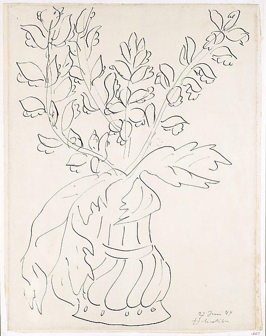 Vase of Flowers (Fleurs et feuilles d'acanthe dans un vase d'étain a godrons)  Henri Matisse (French, Le Cateau-Cambrésis 1869–1954 Nice)