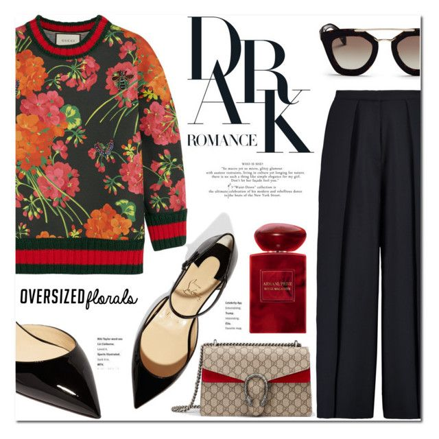 Oversized Florals: Gucci by stellaasteria on Polyvore featuring polyvore, fashion, style, Gucci, Iris & Ink, Christian Louboutin, Prada, Giorgio Armani and clothing