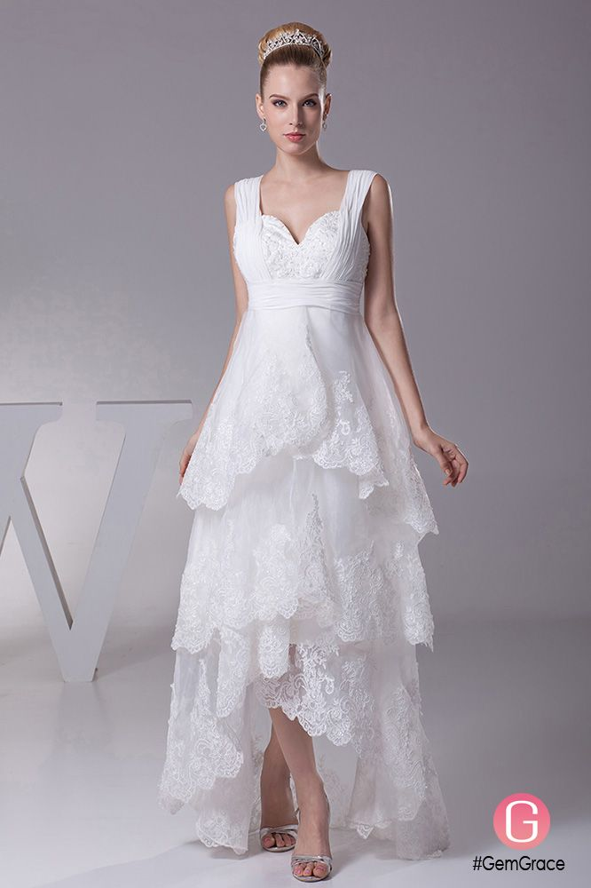 38e93561f2 Gorgeous Short in Front Long in Back Lace Layered Wedding Dress with ...