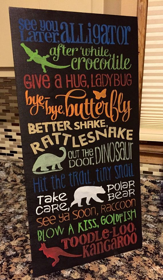 12x24 Kids Rhyme See You Later Alligator by KHPrimitiveKreations