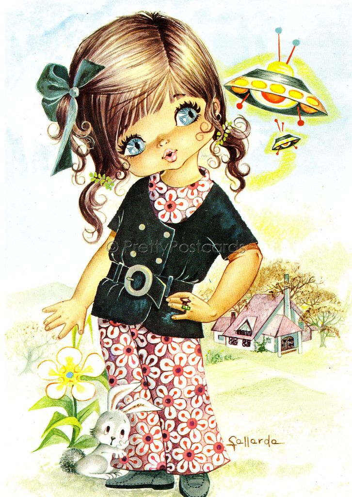 big eyed girl vintage 70's postcards - Google Search