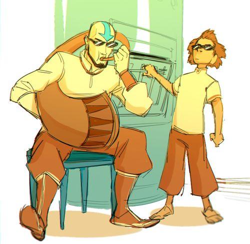 When Katara isn't home.   Aang & Bumi   The Last Airbender   Legend of Korra   Avatar