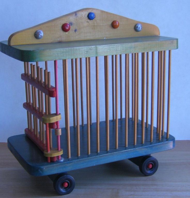 Vintage Wooden Circus Train Cage Handcrafted Hand Painted Maurice Vautier 12x12 #CraftsInWood