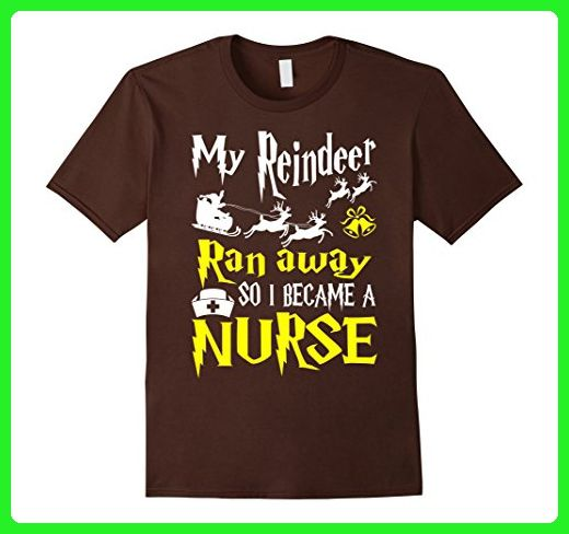 Mens My Reindeer Ran Away So I Became A Nurse Tshirt Small Brown - Careers professions shirts (*Amazon Partner-Link)