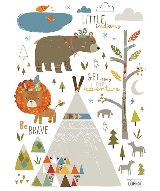 Paper and Cloth for Lilipinso - Planche de stickers A3 chambre d'enfant et bébé : Little indians