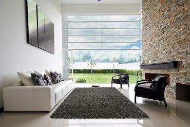 Design Hochflor Teppich SHAGGY anthrazit 160x230cm