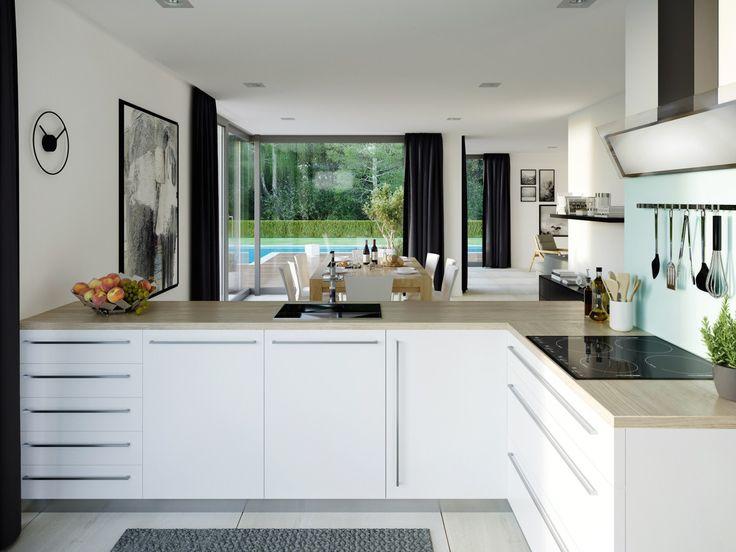 Offene Küche Mit Theke   Inneneinrichtung Haus Concept M 211 Bien Zenker    HausbauDirekt.