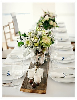 Pretty centerpiece idea with strip of wood