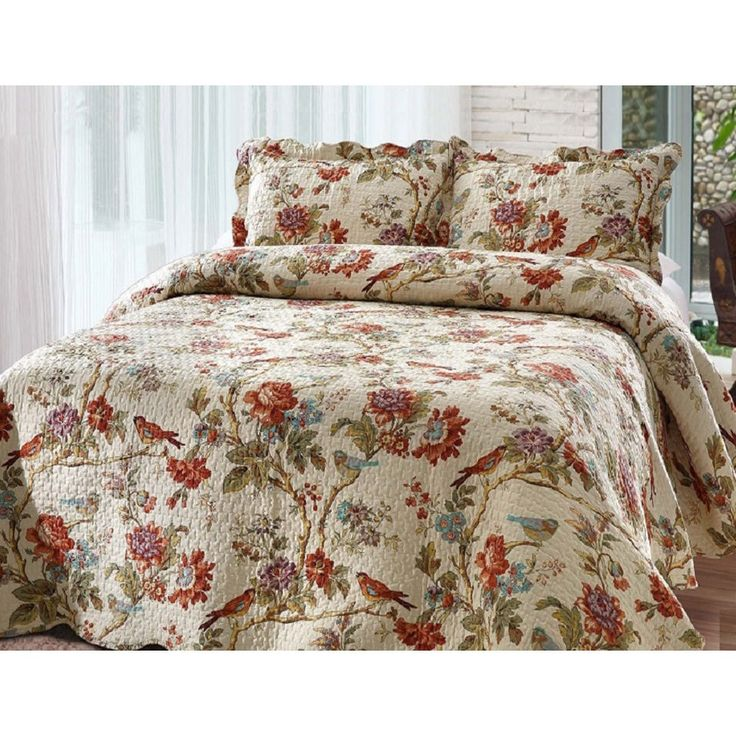 Node Patch Magic Finch Orchard King Size Quilt Set