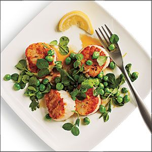 Seared Scallops with Lemony Sweet Pea Relish | MyRecipes.com: Iron Skillet, Relish Recipe, Food Seafood, Seafood Recipes, Myrecipes Com, Sweet Peas, Edible Seafood, Seared Scallops