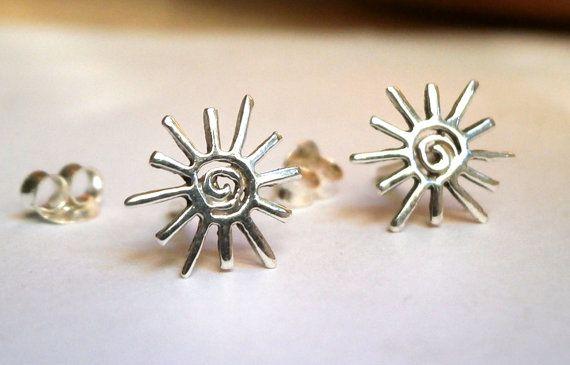 Spiral Stud Sun Stud Stud Earrings Tiny by JewelryByKonstantis