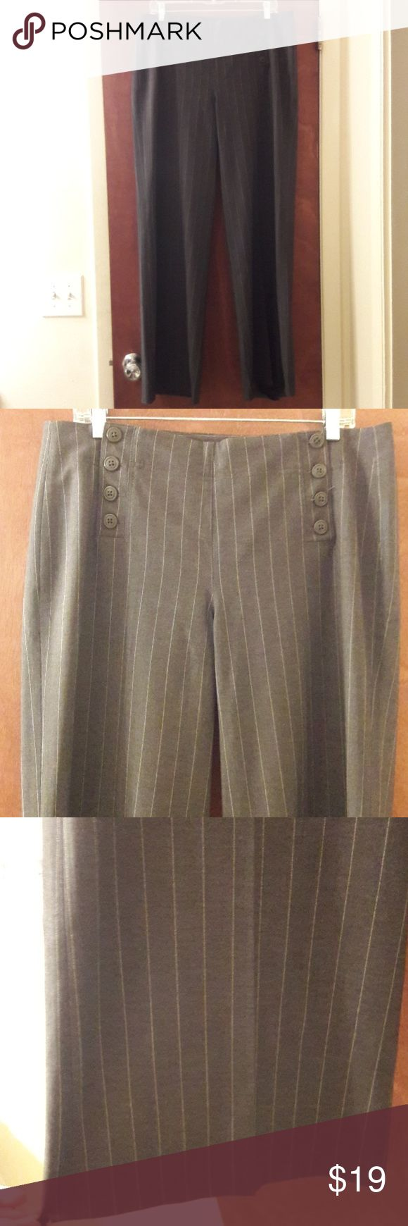 """Gray Larry Levine Stretch Dress Pants Stripped 12 Larry Levine Stretch Dress Pants.  Size 12.  They are gray with white stripes. Inseam measures 32 1/2"""".  Legs are wide and flowy. New with out tags! Larry Levine Pants Wide Leg"""
