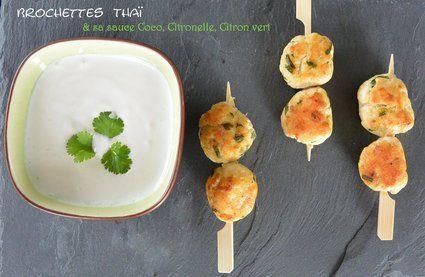 Brochettes thaï et sauce coco citronnelle citron vert : la recette facile