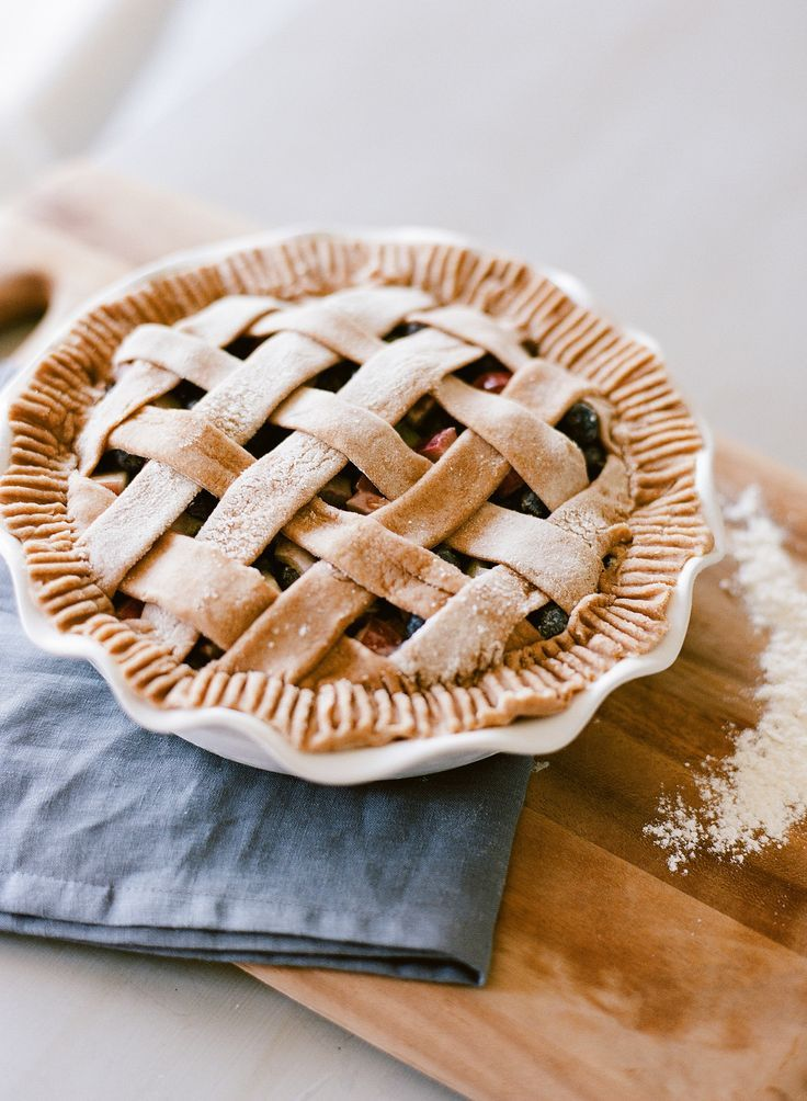 Best Ever Blueberry Rhubarb Pie with Whole Wheat Crust by Teeny Pies