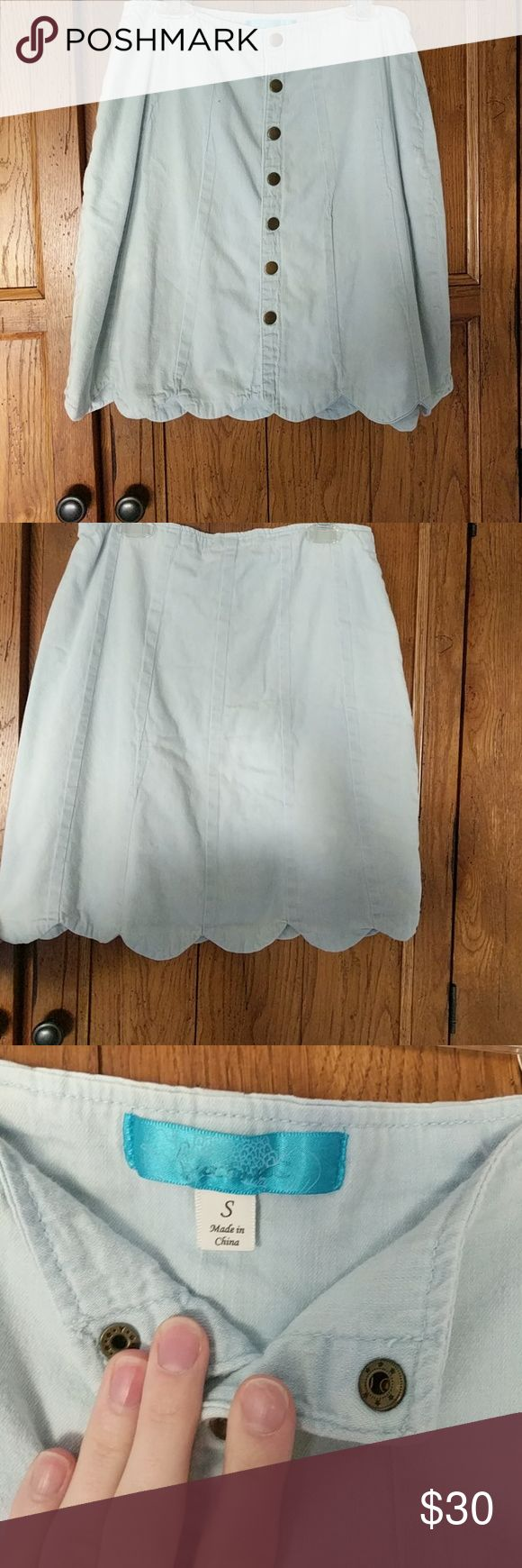 Francesca's skirt High wasted, light denim, buttons all the way down. Worn once. Francesca's Collections Skirts