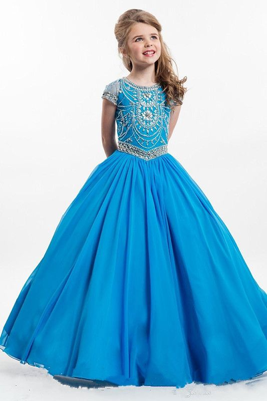 Elegant Blue Red Kids Flower Girls Dresses With Beaded Floor Length Pageant Party Gown For Girls Any Size