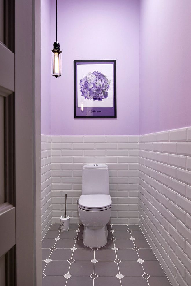 Small Bathroom Purple Top Walls White Brick Under Walls White Toilet Mid Century Modern Pendant Purpl Bathroom Tile Designs White Bathroom Tiles Small Bathroom