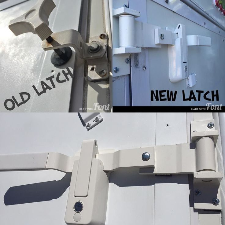 Cargo-style latch on our hybrid travel trailer. This replaces the old twist-style rubber feet that hold the beds in place. The latches also feature a lock for added security.