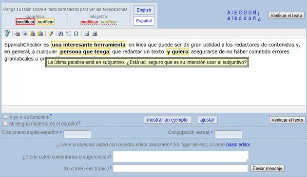 SpanishChecker, un corrector online de gramática y ortografía en español