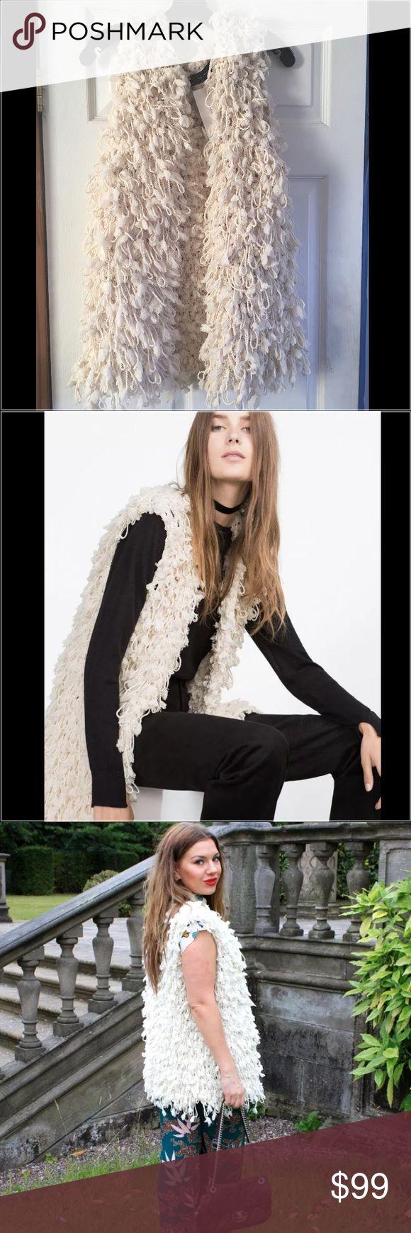 Zara Ecru Cream Braided Waistcoat Vest Jacket ZARA  Sophisticated Fancy Waist Coat  A Great Upgrade to Any Wardrobe  Size: M  Color: Ecru/ Cream Zara Jackets & Coats