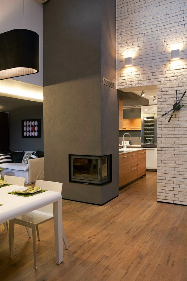 fireplace in grey wall