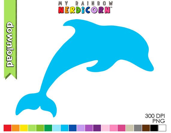 Dolphin clipart digital download of 20 color by MyRainbowNerdicorn
