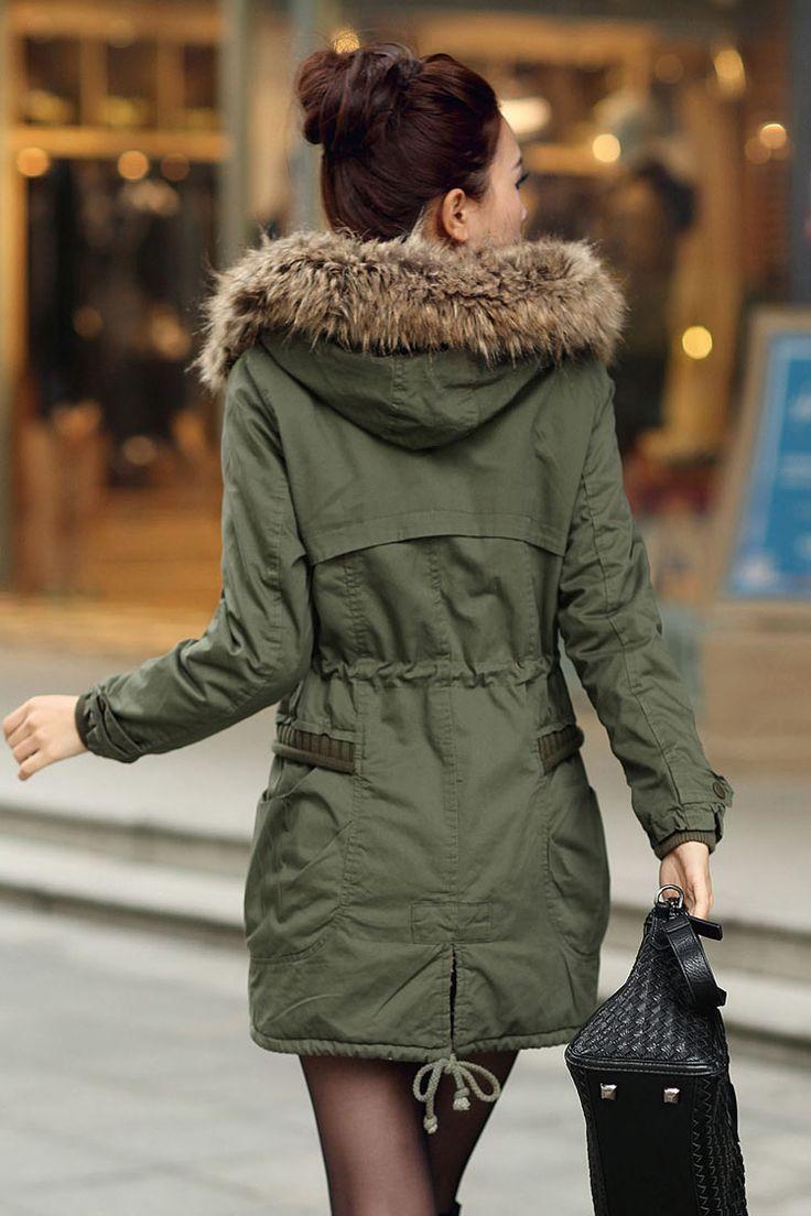 Green Womens Winter Coats Faux Fur Lining Parka With Fur Hood
